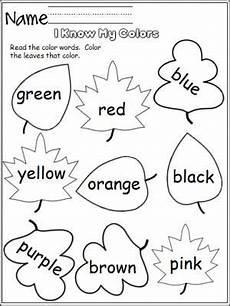 learn colors worksheets free 12775 i my colors leaves with images preschool colors fall preschool preschool