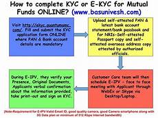how to complete kyc or e kyc for mutual funds online