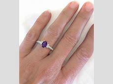 Oval Amethyst and Oval Diamond Ring with Vintage Styling