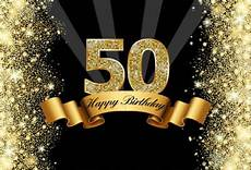 5x7ft Vinyl 50th Happy Birthday Black by Background Black Sparkly Gold Glitter Happy 50th Birthday