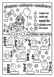 colours and numbers worksheets 18745 shapes colours and numbers esl worksheet by be67