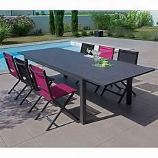 table aluminium jardin table de jardin trieste aluminium l200 280 l103 cm gris