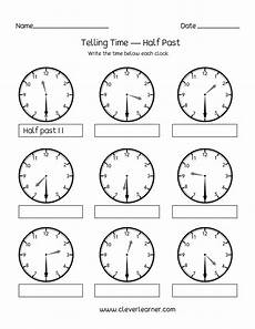 time worksheets hour and half past 3019 telling time half past the hour worksheets for 1st and 2nd graders
