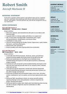 aircraft mechanic resume sles qwikresume