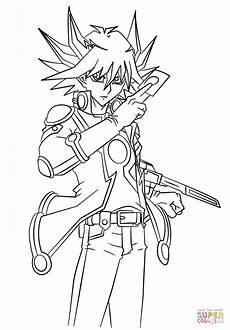 yusei fudo from yu gi oh 5ds coloring page free