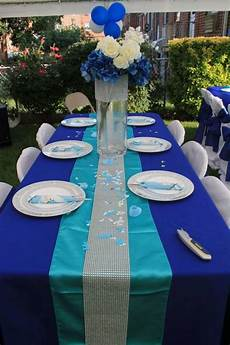 royal blue table cloth with turquoise runner silver rhinestone roll baby shower ideas