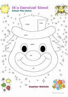 it s carnival time colour the clown worksheet free esl printable worksheets made by teachers