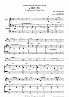 sheet music for canon violin by johann pachelbel