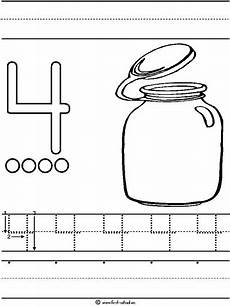 number 4 four tracing and coloring worksheets crafts