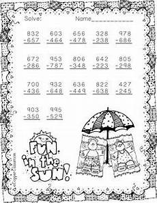 subtraction with regrouping worksheets summer 10707 3 nbt 2 summer themed 3 digit subtraction with regrouping math resources elementary math math