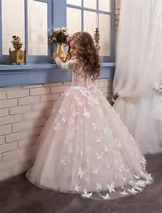 girls flower dresses 2017 new princess hot pink long sleeves ball gown flower girl dress sweep train girls first