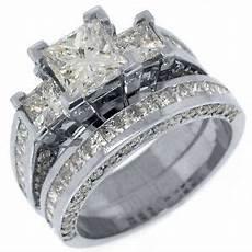 3 5 carat diamond engagement ring wedding band square 3 stone white gold ebay