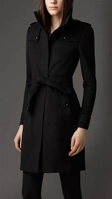 lyst burberry fitted wool coat in black