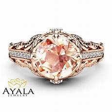 morganite art nouveau engagement ring 14k rose gold floral ring camellia jewelry