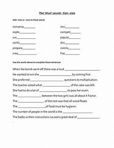 spelling worksheets tion sion 22559 the shun sound by jredman100 teaching resources