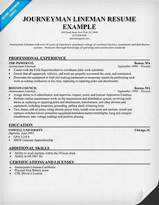 resume objective exles for lineman journeyman lineman resume sle resumecompanion com