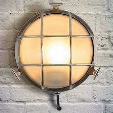 industrial circular chrome outdoor wall light by i love