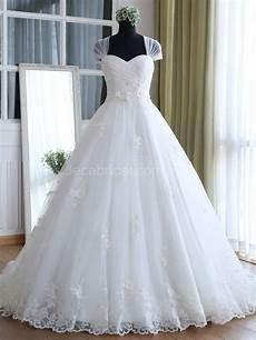 princess cap sleeves romantic wedding dress w1045
