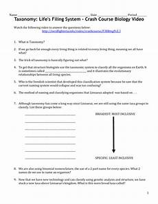 taxonomy video worksheet