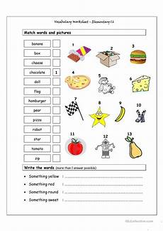 vocabulary matching worksheet elementary 1 6 worksheet