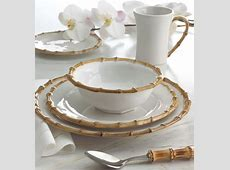 """Four """"Bamboo"""" Dinner Plates   NATURAL   Contemporary"""