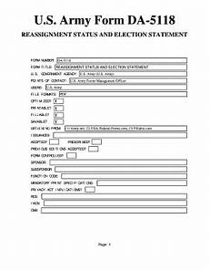 fillable online u s army form da 5118 u s federal forms fax email print pdffiller