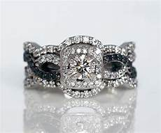 black and white diamond halo engagement ring ambrosia jewelry design