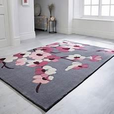 tapis de salon fleurs cerisier et gris par flair rugs