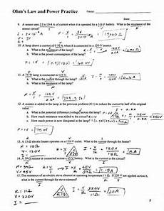 physical science worksheet ohm s answer key 13132 ohm s and power practice problems by mrs k science tpt