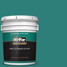 behr premium plus 5 gal m450 6 bubble turquoise gloss enamel exterior paint and primer in