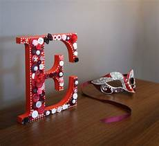 Wooden Letter Decorated With Buttons Hobbytec