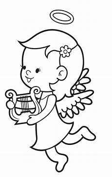 Engel Malvorlagen Zum Ausdrucken Comic Ausmalbild Engel Kostenlose Malvorlage Engel Mit Harfe