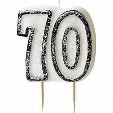 bougie 70 ans black white paillet 233 deco anniversaire