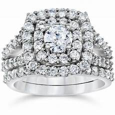 2 carat diamond cushion halo engagement wedding ring white gold ebay