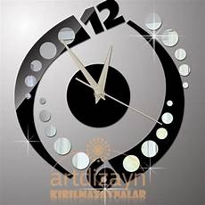 modern wall clock black and mirror home living by