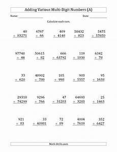 the various multi digit addition from 2 to 5 digits with