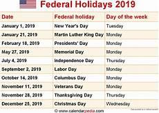 federal holiday 2019 federal holidays 2019
