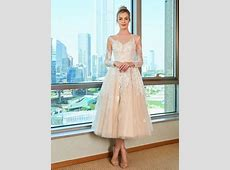 Appliques Tea Length Wedding Dress with Long Sleeve
