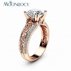aliexpress com buy moonrocy cz crystal ring rose gold color wedding rings vintage hollow