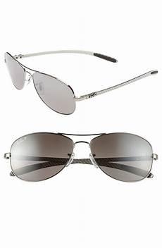 ban tech polarized 59mm aviator sunglasses in silver
