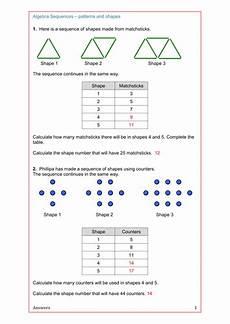 shapes worksheets ks4 1159 maths algebra ks2 ks3 ks4 revision sequences from patterns and shapes algebra maths algebra
