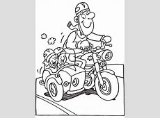 Kleurplaat Papa op de motor met kinderen   Kleurplaten.nl