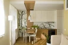 wohnzimmer mit küche ideen kleines wohnzimmer mit offener k 252 che holz creme kombination fototapete zweige glasplatte