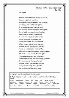 poetry worksheets for ks3 25471 chaucer geoffrey ks3 poetry key stage 3 resources