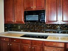 stacked tile kitchen backsplash