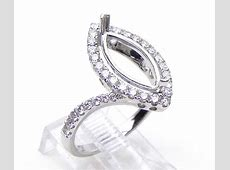 Ladies 18k White Gold 3 Cts. Marquise Shape Diamond Semi