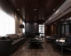 dunkles wohnzimmer modern minimalist interior design with dark nuances