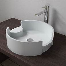 vasque ronde et design en solid surface blanc mat sdv69