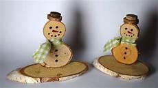 astscheiben zum basteln schneemann aus astscheiben basteln