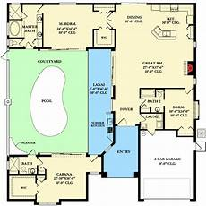 courtyard pool house plans home plan with courtyard and guest cabana 82034ka 1st